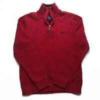 Womens Quarter Zip Jumper Large Red CHAPS Good Condition.
