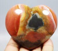 POLISHED OCEAN JASPER Polished Palm Stone Crystal Fossil Heart shaped Healing