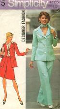 "6175 SIMPLICITY Designer c.1973 - Detailed JACKET SKIRT & PANTS - Sz 12 B 34"""