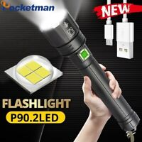 Ultra Bright 200000LM XHP90.2 LED Flashlight Rechargeable 3Mode Zoom Torch 26650