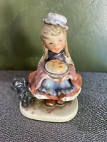 "Vintage NAPCO FIGURINE 'DINNER TIME'  5"" Girl & Dog Holding A Pie"