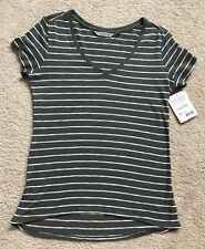 NEW Athleta XS Stripe Daily Short Sleeve Knit Top T Shirt Olive Green & White