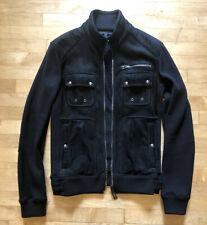 Belstaff mens black suede-front slim fit cardigan jacket - size Large