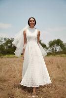 Lulus Ivory Lace Midi Charmed Dress Wedding Shower Bridal Rehearsal Party XS M