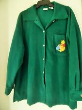 Over size Disney Store Winnie the Pooh Fleece Cardigan Jacket Green Tag  Sz L