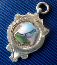 Vintage Sterling Silver & Enamel Fob Medal or Pendant Pigeon 1926 Birmingham