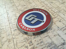 Stainless steel bow medallion and GT bow decal for Glastron Carlson CV-16