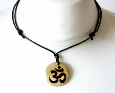 Om Symbol Necklace Yoga Spiritual Aum Pendant Gift Zen Mantra Wood Jewellery