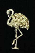"Amazing BUTLER & WILSON Diamante Black Enamel & Gold Tone ""FLAMINGO"" BROOCH"