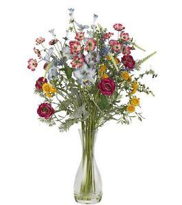 Home Colorful Floral Decor Veranda Garden Silk Flower Arrangement and Vase