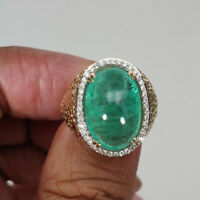 Gorgeous Cabochon Emerald Diamond Ring Cocktail 14K White & Yellow Gold Finish