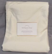 "Pottery Barn Set/2 Ivory Silk Dupioni Blackout 84"" Curtains Panels Drapes"