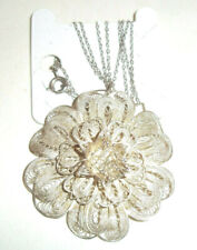 Lovely Vintage Solid Silver filigree flower brooch / pendant necklace #cm no 2