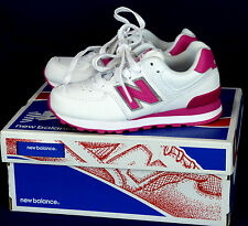 404 NIB New Balance girl sneakers KL574LCP white pink classic running shoes 10.5