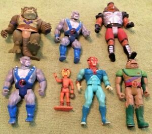 7 Vintage Thundercats Action Figure Lot Slith Grune Tigra Panthro Wilikat Tuska