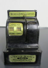 Vintage Uncle Sam's 3 Coin Register Bank, Black with Yellow signage, Awesome
