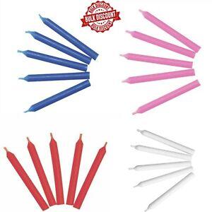 x500 BULK White Red Blue or Pink Birthday Cake Topper CANDLES holder option