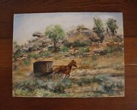 Amish Horse and Carriage Buggy Painting on Masonite Board 9x12 Illegible Signed