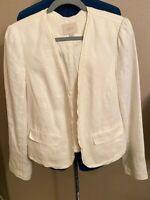 Ann Taylor Loft Women's Sz M Linen Open Front Ivory Cropped Blazer Jacket