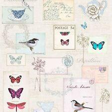 VINTAGE POSTCARDS WALLPAPER A160 WINDSOR WALLCOVERINGS BUTTERFLIES BIRDS FLOWERS