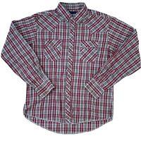 Vintage Wrangler  Pearl Snap Long Sleeve Shirt Mens Large Red Plaid Western
