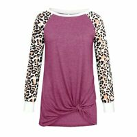 T-Shirt Pullover Womens Crew Neck Top Ladies Leopard Print Shirt Long Sleeve