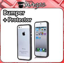 BUMPER compatible iPhone 5 5S boton metalico + PROTECTOR PANTALLA Carcasa NEGRA