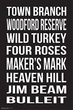 BOURBON BRANDS POSTER WILD TURKEY MAKERS MARK JIM BEAM WOODFORD 24X36 FREE SHIP