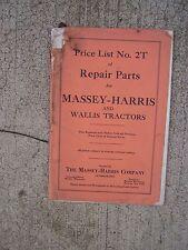 1937 Massey Harris Wallis Tractor Repair Parts Price List 2T   MORE IN STORE R