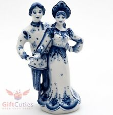Gzhel porcelain Figurine of Russian couple in quadrille dance