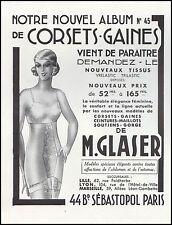 Publicité gaine GLASER  corset lingerie femme vintage  print ad 1936  -6h
