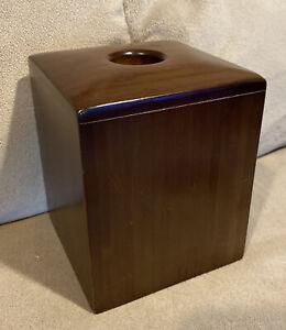 "Umbra Wood Tissue Box Cover Dark Brown 5-1/4"" Square BED BATH BEYOND *MINT"
