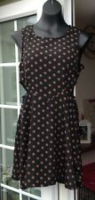 AX BLACK & BROWN SPOTTED SLEEVELESS SHORT DRESS - SIZE 12