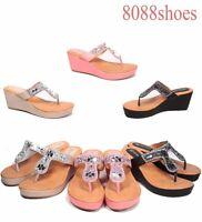 Women's Thong T-Strap Slip On Flip Flops Wedge Heel Sandal Shoes Size 5 - 10 NEW