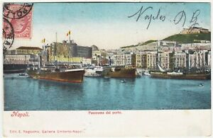NAPOLI / NAPLES - Ships In Harbour - Panorama - Italy - c1910s used postcard