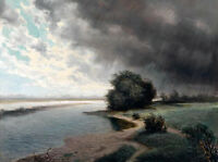 """Stunning Oil painting summer landscape by river with storm Fierce wind art 36"""""""
