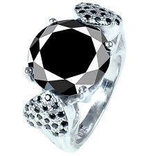 Solitaire Heart .925 Silver Ring 11.28 ct Aaa Black Round Cut