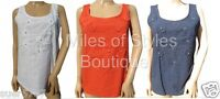 NEW Ex NEXT Ladies Navy Orange White Casual Vest Top Size 10 - 22