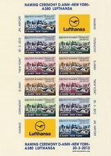 "VIGNETTES AERIENNES ND ""A380 Lufthansa - Vol Baptême New York-Frankfurt"" 2012"