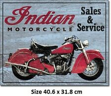 Authorized Indian Sales & Service Weathered Tin Sign 1931 Official Licensed Sign