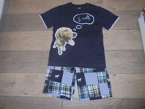 Gymboree Prepster Pup blue and green madras dog shorts with matching shirt 7