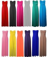 New Ladies Plus Size Bow Knot Tie Strapless Maxi Dress Womens Bandeau Dress 8-26