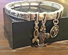 Lords Prayer Bangle Bracelet Cross Ribbon Silver Gold Charm Christian Stretch