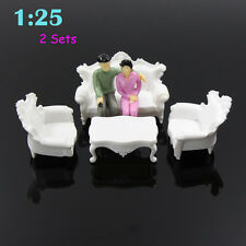 2 Sets Weiß Kunststoff Modell Sofa Stühlen Modelleisenbahn Spur G Settee 1:25