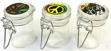 1.5 OZ Stash Jars w/Clamp Style Rubber Gasket Seal, 3ct, Airtight Odor-Proof