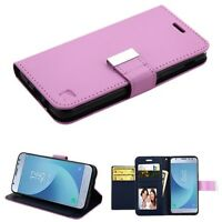 For LG Stylo 4 /Plus Card Slots Fold Leather Wallet Flip Case Cover Pouch PURPLE