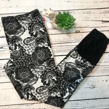Josie Natori Women's Soft Slim Leg Pajama Pants PJ Leggings Black/White M NWOT