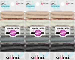 Scunci No Damage Comfortable All Day Medium Hold Elastics 30 Count 3pack NEW!!