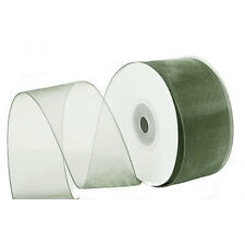 "1/4"" Plain Sheer Organza Nylon Ribbon 25 Yards - Moss / Sage Green"