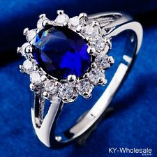 Size 5 Classic Style Blue C.Z Women Real White Gold Plated Wedding Rings H0526